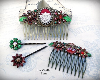 Cameo Victorian Hair Combs Hair Accessories Set, Terra Cotta Assemblage Flower Hair Clips, Hair Jewelry