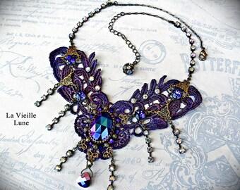 Purple Lace Choker, Victorian Choker Lace Jewelry, Lace Necklace, Hand Beaded Jewelry