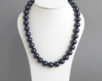 Chunky Navy Necklace - Dark Blue Pearls - Navy Blue Mother of the Bride Jewelry - Swarovski Pearl Bridesmaids Gifts - Wedding Accessories