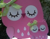 Owl Cake Topper Pink and Green
