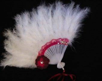 Girls Feather Fan - White Feather Fan - Child's Fan - Tea Party Accessory - White and Burgundy Feather Fan - FF46