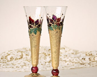 Champagne Glasses, Toasting Glasses, Wedding Glasses, Hand Painted, Set of 2, Gold Marsala Purple