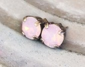Everyday Stud Earrings - Pink Opal Studs - Minimal Earrings - Crystal Studs - Sensitive Ears - Moonstone Studs - Everyday Earrings