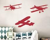 Biplane Wall Decal - Biplanes / Vintage Airplanes Wall Decal Pack - Prop Planes Vinyl Decals WAL-A106
