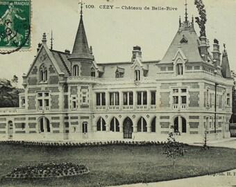 Antique Postcard - Château de Belle-Rive, Cezy, Yonne, Burgundy, France
