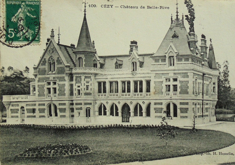 Antique postcard ch teau de belle rive cezy yonne for Bell rive