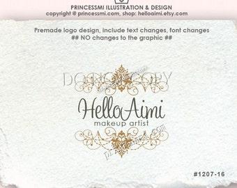 Custom Premade Logo Design - Damask logo scroll logo photography logo business boutique logo by princessmi 1207-16