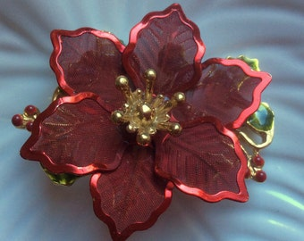 Christmas Red KC Poinsettia Brooch