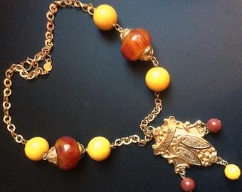 SALE - Vintage Accessocraft Etruscan Necklace - Bakelite Beads