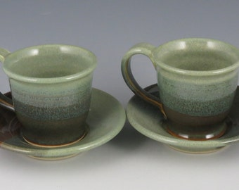 Demitasse / Espresso Mug and Saucer in soft greens and brown