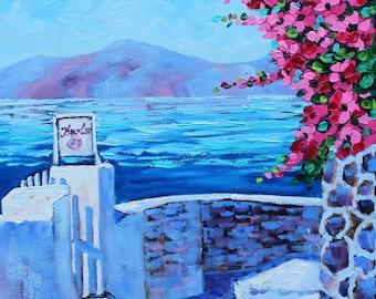 Oil Painting, Artist Original, Strolling in Greece, Canvas Art, Ocean Seascape, Landscape art on Canvas by Rebecca Beal