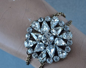 Czech Large Rhinestone Cluster Bracelet Large Upcycled Brooch with Vintage Chain and Clasp