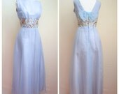 1960s 70s Blue chiffon maxi dress with metallic lattice waist, Melbray label - M