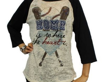 Baseball Home is Where the Heart Is ringer 3/4 Sleeves Burnout Tee