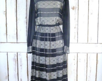 Vintage black/silver striped sheer long sleeve pleated midi dress/evening dress