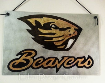 "Oregon State Beaver etched metal sign or magnet board 8""x12"""
