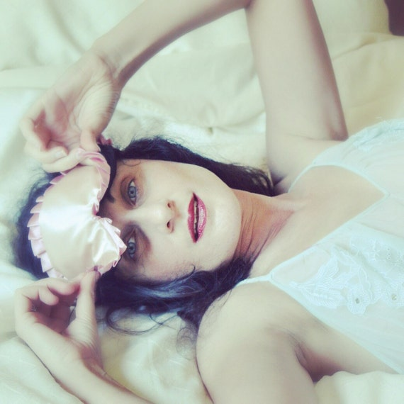 Cream Pink Satin Sleep mask Eye mask Blindfold with Bows pinup retro burlesque - MYLENE- with bows by Love Me Sugar