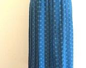 Leslie Fay Blue Printed Pleated Midi Skirt M/L