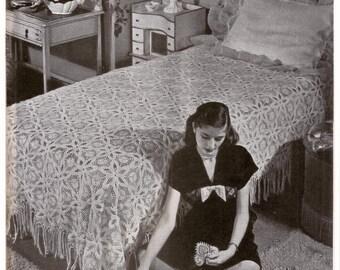 1940's Crochet Pattern - Popcorn Stitch Bedspread - Reproduction .pdf - Instant Download (1946)