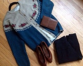 Seablue Taupe Embroidered Roses Colorblock Cardigan S M