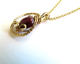 Free Chain with Fancy Ruby Zoisite Pendant, 24.50 Carat Ruby, Handmade Jewelry, Gift Idea for Wife