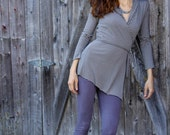 Hooded Wrap Tunic-  Striped Organic Cotton and Bamboo