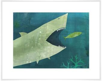 Uh Oh Shark Art Print