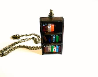 SALE - Antique Bookshelf Necklace - Book Jewelry by Coryographies (Made to Order)