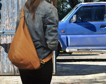 Leather  handmade cross body sling bag-Korina in Bright Tan.  MADE TO ORDER