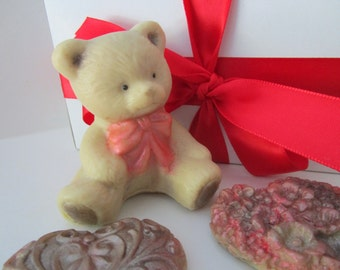 Teddy BEAR and HEARTS SOAP - teddy bear soap, gifts for teens, Stocking stuffer for her, gifts for woman,
