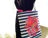 Vintage Inspired Floral Burst Tote Bag with Chunky Stripes. Perfect for Spring and Summer. Multiple color choices, or select your own color.