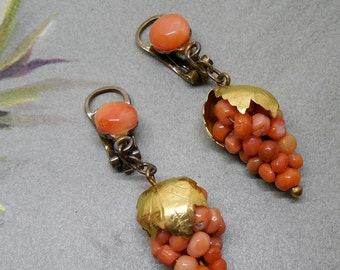 Antique Genuine Coral Grape Cluster Dangle Clip On Earrings