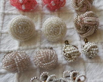 6 Pair Vintage Seed Bead Cluster Earrings Lot    MAH9