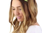 GREEN LACE HEADBAND, wide neon green lace stretch headband