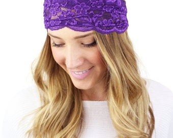 PURPLE LACE HEADBAND, wide stretch lace headband