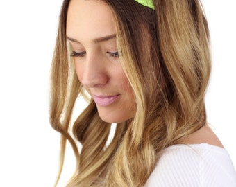 GREEN LACE HEADBAND, wide neon green lace stretch headband