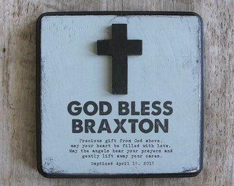 God Bless Personalized Baptism Gift with Custom Prayer or Phrase, First Communion Keepsake, Godchild Gift, Baby Gift, Christening Keepsake