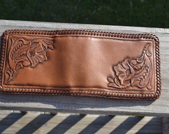Tan western floral leather wallet