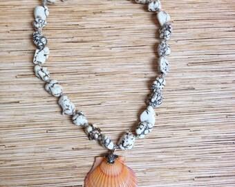 Beach Hippie Orange Scallop Shell Knotted Hemp Necklace