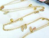 Citrine gold leaf long opera length necklace, opera length citrine gold bohemian necklace, Fall leaf citrine long necklace