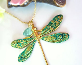 Emerald green dragonfly apatite blue quartz gold filled necklace, antique peacock green dragonfly gold filled necklace