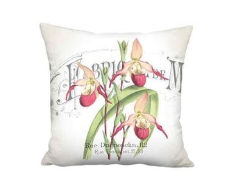 Pillow Cover - Pillow - Lady Slipper Orchid Flower French Cottage Farmhouse - 16x 18x 20x 22x 24x 26x 28x Inch Cottage Cushion Cover