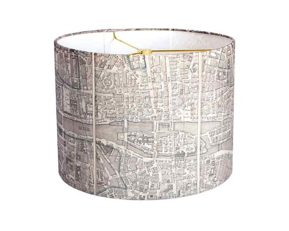 small linen paris map lamp shade neutral french vintage map. Black Bedroom Furniture Sets. Home Design Ideas