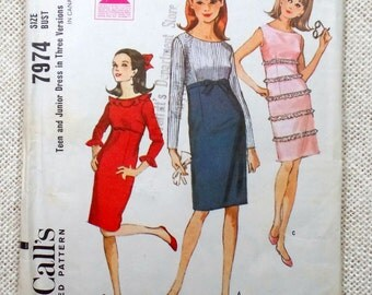 Vintage Sewing Pattern McCall's 7974 Go Go Mod Bust 33 Mad Men flutter sleeve ruffles 1960s 1965 High waisted Sleeveless