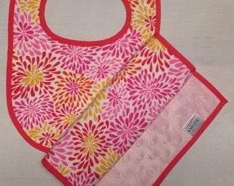 Pink and Yellow Floral Baby Bib and Burp Cloth Set - Minky Baby Shower Gift - Can Be Monogrammed with Baby's Name or Initials