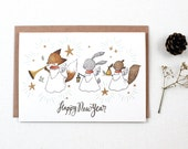 Holiday Card - Happy New Year Angels - Greeting Card
