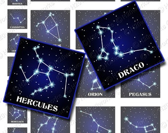 Popular Constellations 1x1 & 2x2 Squares, Midnight Blue, Black, Astrology, Digital Collage, Stars, Other, Printable, INSTANT DOWNLOAD