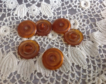 Six Vintage Amber Translucent Bakelite Button