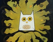 """Be Still and Know 8"""" x 10"""" print of an original acrylic painting by Owen Klaas green black owl"""