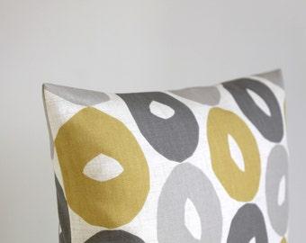 Pillow Cover, Decorative Pillow Sham, 18x18 Cushion Cover, Scatter Pillow, 18 Inch Pillowcase - Scandi Circles Mustard